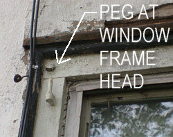 Wood Pegs used to join together window frame.